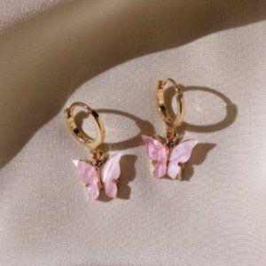 GOLD PINK BUTTERFLY HOOP EARRINGS